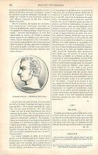 Portrait Louis-Jean-Népomucène Lemercier Médaille de David d'Angers GRAVURE 1886