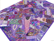 Indian Quilt Twin Purple Patchwork Bedspread Handmade Tapestry Bed cover India A
