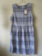 OASIS DRESS Denim BLUE STRIPE Pockets LINEN COTTON 1950s 60s Sz 12 NEW