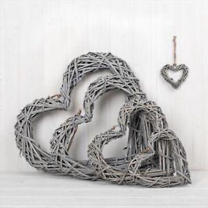 Grey Wicker Rattan Hanging Heart wreaths in sizes 10cm, 20cm, 30cm, 40cm, 50cm