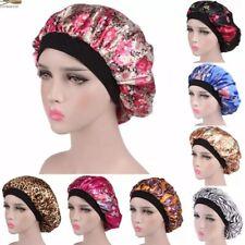 Women's Satin Night Sleep cap Hair Pack bonnet Hat Silk Wide Elastic Band US