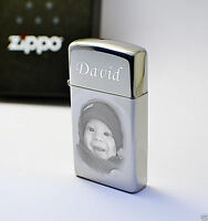 Engraved Zippo Lighter SLIM High Polished Photo Personalised Free Christmas Gift