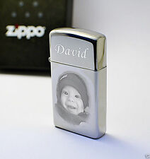 Engraved Zippo Lighter SLIM High Polished Photo Personalised Father's day Gift