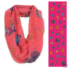 Laurel Burch 100% Poly Rayon Infiniti Fushia Brights Neck Scarf Cat Faces New