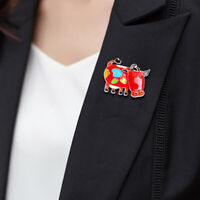 Corsage Badge Cartoon Spots Colorful Cute Cow Jewelry Gift Rhinestones Brooch