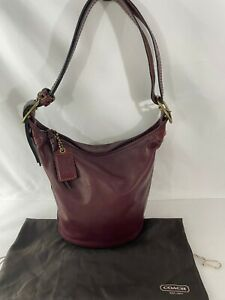 COACH 11422 Bucket Shoulder Bag Convertible Duffel Sac Red Wine Leather