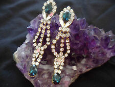 ANTIQUE VINTAGE CZECH BLUE AND WHITE GLASS CRYSTAL RHINESTONE GOLD SET EARRINGS