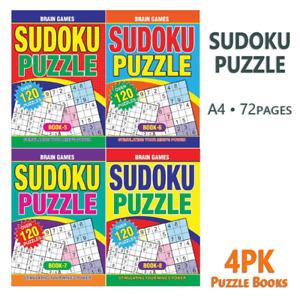 4PK Sudoku Puzzle Books A4 Large Print Travel Activity Brain Games