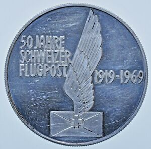 SWITZERLAND, 50 YEARS OF SWISS POST 1969, 33mm SILVER PROOF MEDAL aFDC