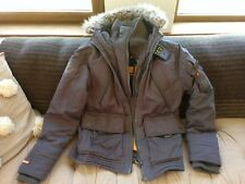 Men's SUPERDRY grey cosy padded winter zip-up coat with fur collar, size Large
