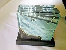 Musical Clarinet -Thick Glass Coaster Set (4) w/Stand Twinkle-Canadian Giftware
