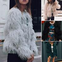 Women Shaggy Faux Fur Coat Jacket Winter Warm Long Sleeve Cardigan Tops Outwear