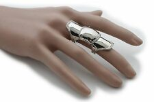Women Shiny Silver Metal Chains Ring Fashion Jewelry Long Finger Band M 7.5