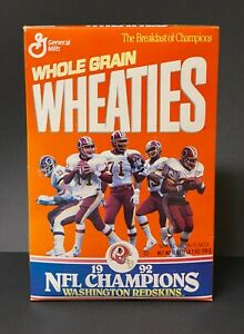 "Vintage Washington Redskins ""1992 NFL Champions"" Wheaties Box 18 oz Unopened"