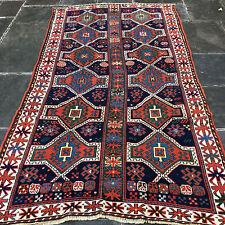 """Antique Fachralo Kazak Caucasian Rug 8'8"""" x 4'8""""  Double Row and Column"""