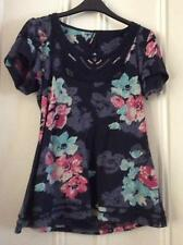 Very pretty navy floral cap sleeve top scoop neck sequins M&S size 12
