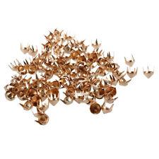 100 Gold Copper Studs Spots Punk Nailhead Spikes for Bag Shoes Bracelet FP