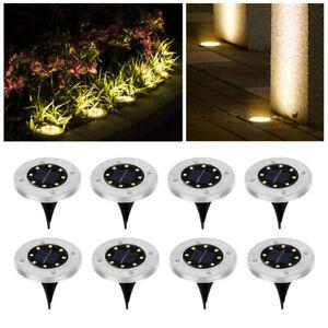8tlg 8LED Solarlampe Bodenstrahler Garten Leuchte Bodeneinbauleuchte Außenleucht