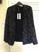 GENUINE ZARA 2013 BLACK BEADED LEATHER JACKET BLAZER COAT KIMONO MEDIUM ONE SIZE