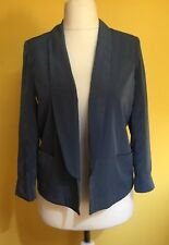 RIVER ISLAND Gorgeous BLUE Silky Feel Cropped Blazer Jacket ~Size 8~Open Front