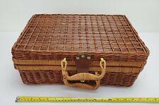 Vintage Wicker Picnic Briefcase Style Basket 18ʺW × 12ʺD × 7ʺH
