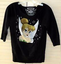 Disney Couture Top L Tinkerbell Black Scoop Fray Neck Sweatshirt