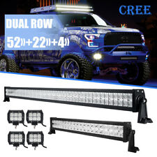 """52""""700W LED Light Bar Combo + 22"""" +4"""" CREE PODS OFFROAD FORD JEEP SUV 4WD ATV 50"""
