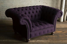 MODERN HANDMADE 1.5 SEAT HERRINGBONE PURPLE WOOL CHESTERFIELD SNUGGLE CHAIR SEAT