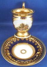 Empire Paris French Scenic Cobalt Porcelain Cup & Saucer Porcelaine Tasse Vieux