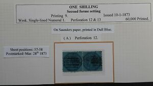 1873 Victoria Australia Pair 1/- Blue on Blue Octagonal stamps Saunders Ppr used
