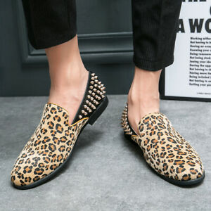 Mens Outdoor Comfortable Casual Shoes Leopard Rivet Pointed Toe Slip On Loafers