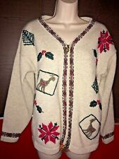 Wool Cotton Christmas Zip Cardigan Northern Reflections Embroidery