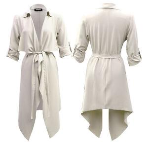 Ecru Womens Ladies Turn Up Sleeve Belted Waterfall Duster Blazer Coat Jacket