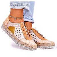 Women's leather shoes Maciejka Yellow 03339-44 multicolored