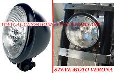 FARO MOTO ANTERIORE NERO HARLEY CUSTOM CAFE RACER SCRAMBLER LAMPADINA H4 BATES