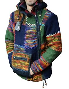 Multipatch stitched Handmade Fleece Lined Winter unisex box pocket wool Jacket