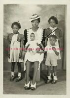 Vintage 1940 Photo reprint African American Black Woman Single Mother & Children