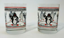VTG Pair of Penguin Waiter Double Old Fashioned Glasses Mary Poppins Mid Century