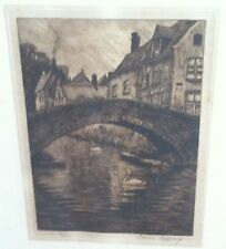 Omer Coppens (1864-1926 ) Signed & Numbered Etching of a Town Scene w/ a Bridge