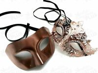 Champagne Rose Gold Masquerade Mask Couple Costume Birthday Wedding Dance Party