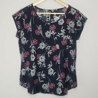 Ann Taylor Factory Blouse Top Short Sleeve Floral Career Wear Office Blue Pink M