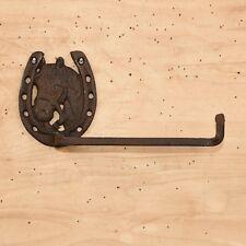 Cast Iron - Horse & Horseshoe Toilet Paper Holder Rustic Brown Western Decor