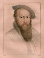Antique Portrait Print-SIR THOMAS WYAT-WIATT-KNIGHT-Holbein-1828