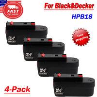 4Pack For BLACK & DECKER HPB18 18V 18Volt Slide Battery Pack Ni-MH HPD1800 FSB18