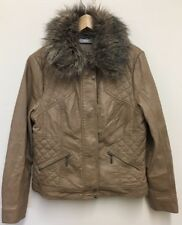 Wallis Artificial Faux Leather Brown Jacket Fur Collar Size 16 UK