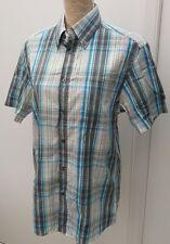 """Blue Harbour Mens Size S Aqua Blue White Check Cotton Shirt Summer Wear 37"""" Boy"""