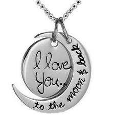 Women's Silver I Love You To The Moon & Back Pendant Chain Necklace Jewelry Gift