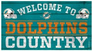 NFL Miami Dolphins Welcome to Country Wood Sign Holzschild Holz 61x33 Football