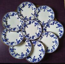 9 VINTAGE ADDERLEYS BRUGGE BLUE & WHITE 18cm SIDE PLATES.