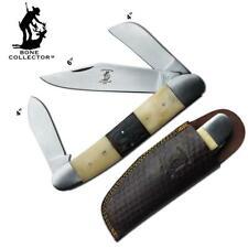 "Huge Oversize 8"" Bone Handle Folding Stockman Knife w/ Sheath  Giant Monster Big"